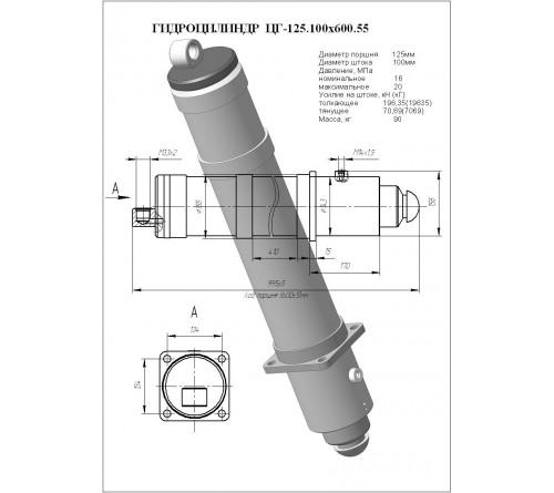 Гидроцилиндр опоры ЦГ-125.100х600.55 (КС-55713-1К.31.200)